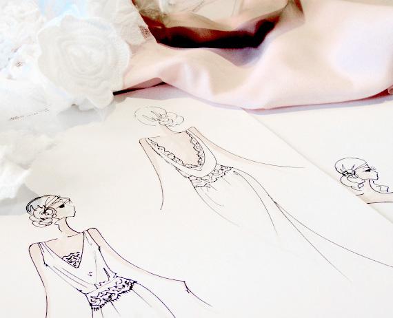 Création de robe sur mesure illustrations croquis
